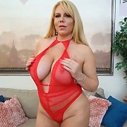 Big Tit Blonde In Red Teddy with Karen Fisher