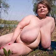 Tanning Nude by the Lake with Pauline