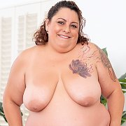 Sexy Brunette BBW Gets Naked with Lacy Bangs
