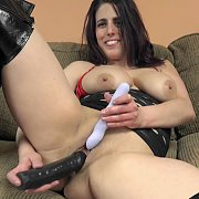 Busty Milf In Boots And Fucking Her Dildos with Lavender Rayne