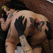 Tattooing Mother Aurora's Butthole with Mother Aurora, Evilyn Ink